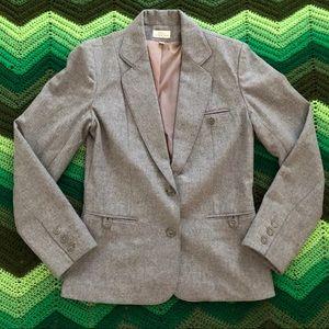 VINTAGE grey wool blazer EUC 2 button fold collar